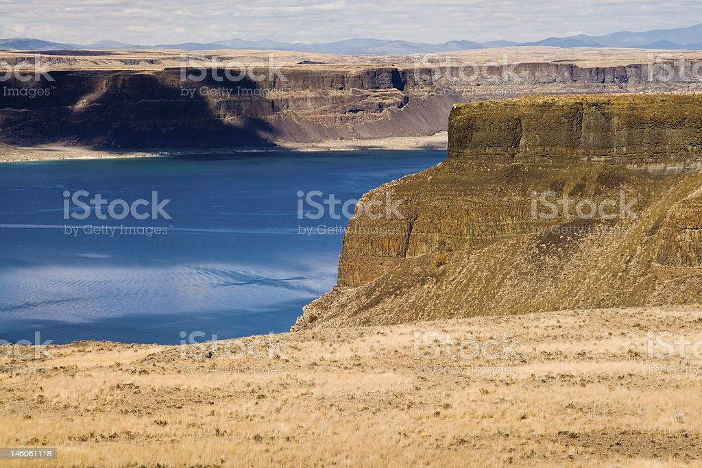 Banks Lake Below Steamboat Rock stock photo