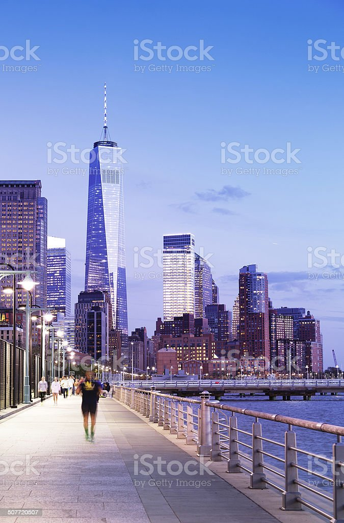 Banks of Hudson River and Freedom Tower royalty-free stock photo