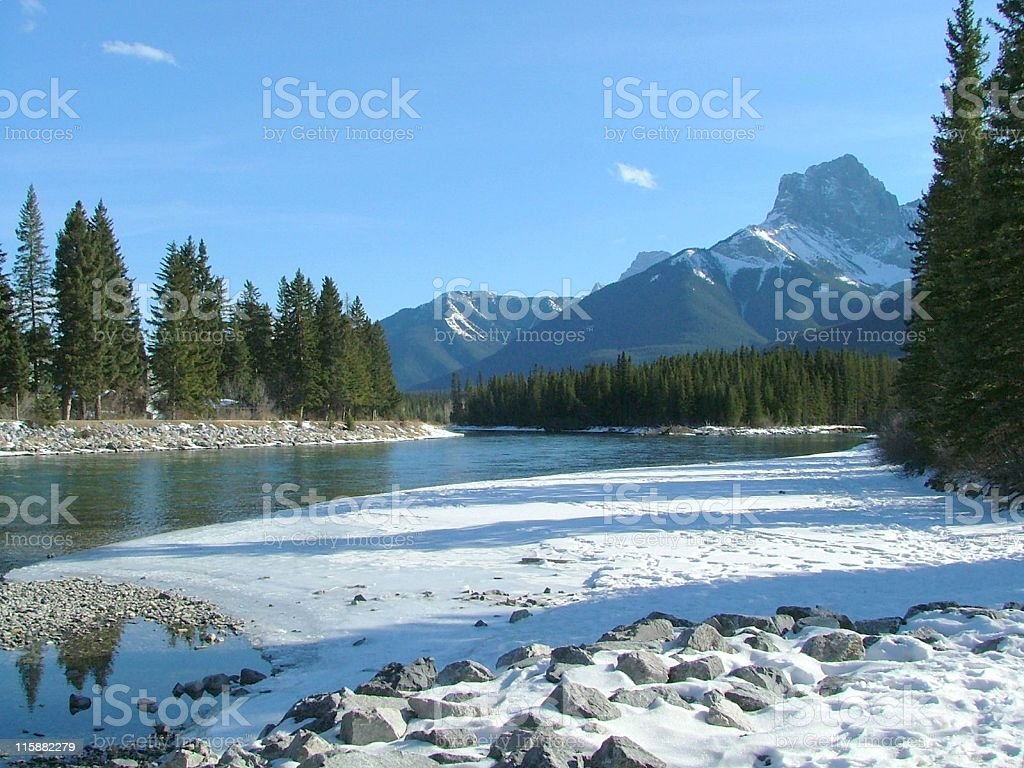 Banks of the Bow River in Winter royalty-free stock photo