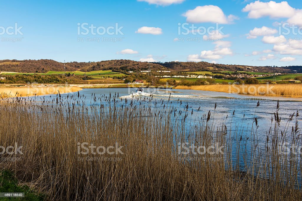 Banks of the River Medway at Snodland stock photo