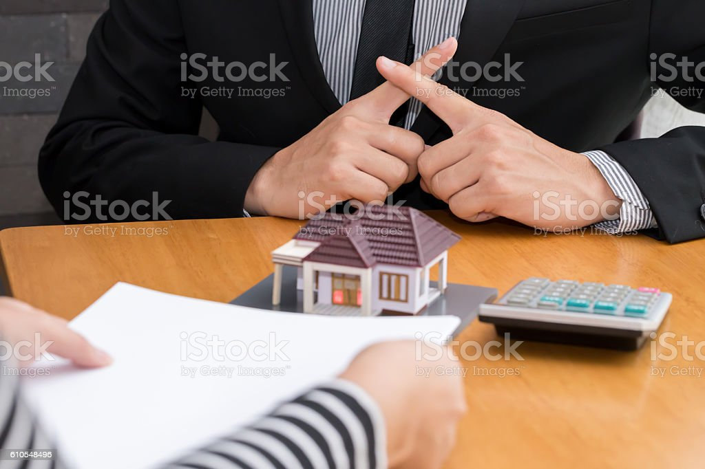 Banks refuse loans to buy homes. Real Estate concept stock photo
