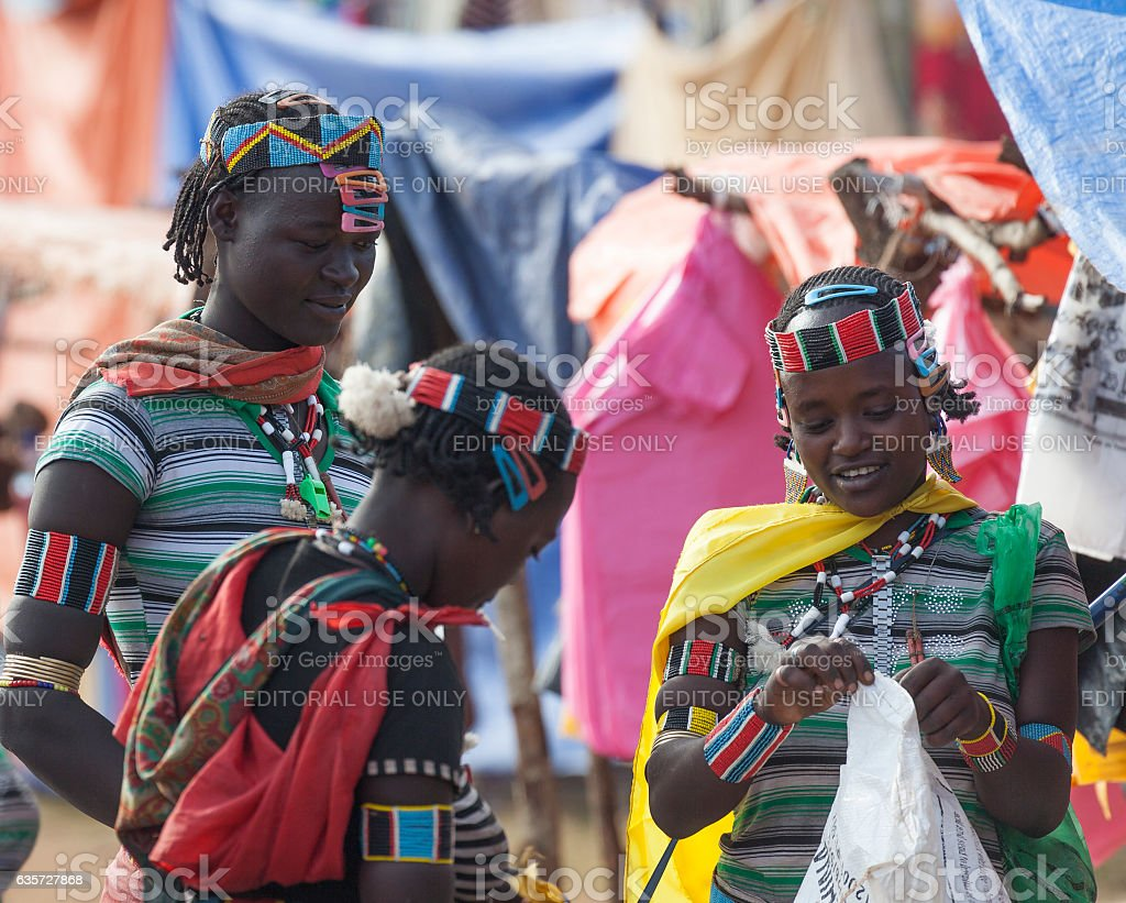 Banna people at village market. Key Afar, Omo Valley. Ethiopia stock photo