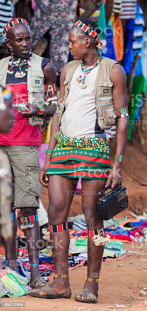 Banna people at village market. Key Afar, Omo Valley. Ethiopia stock photo