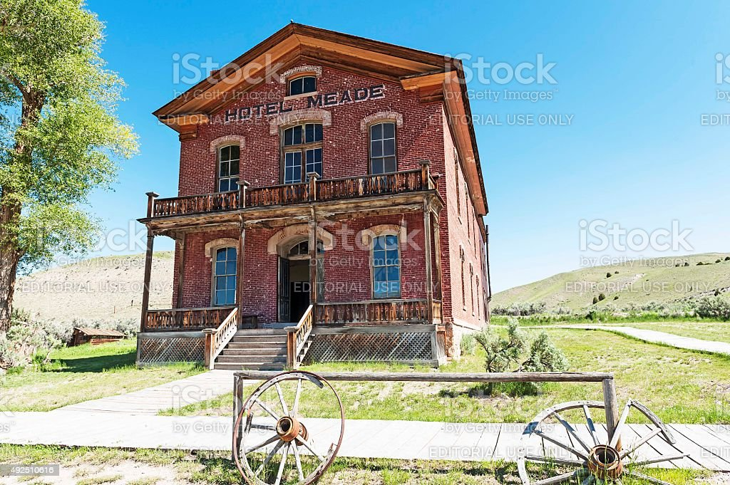 Bannack State Park Hotel Ghost Town Montana stock photo