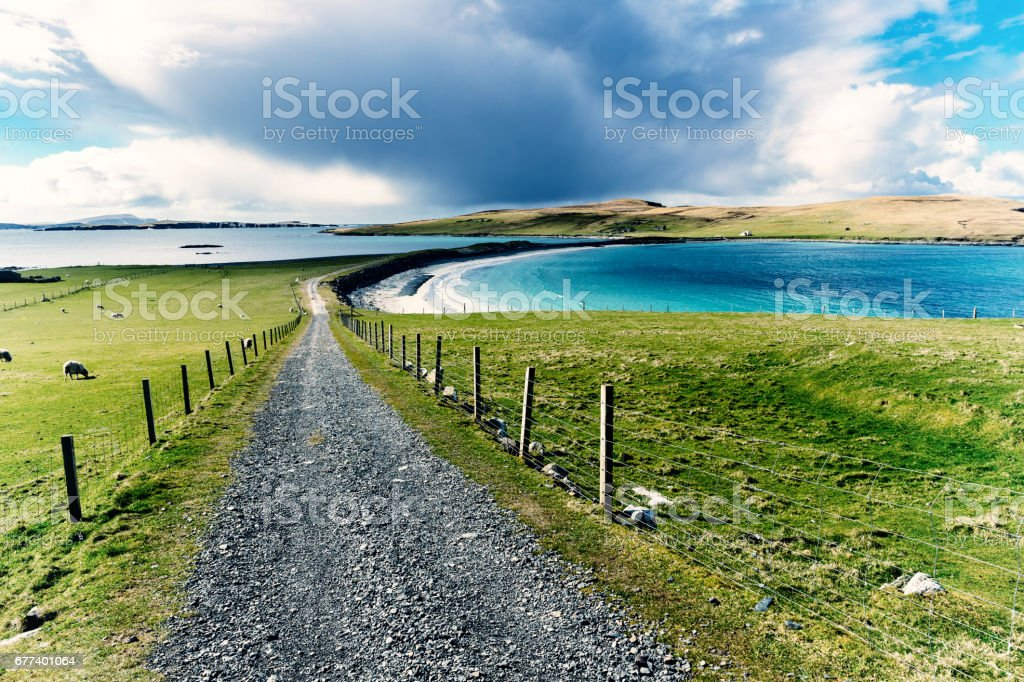 Bannamin beach, West Burra, Shetland Islands of Scotland stock photo