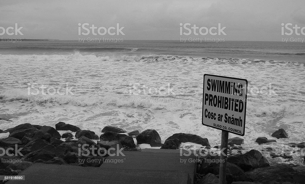Banned beach in Sligo, Ireland stock photo
