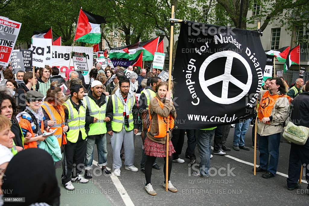 CND banner and Palestinian flags stock photo