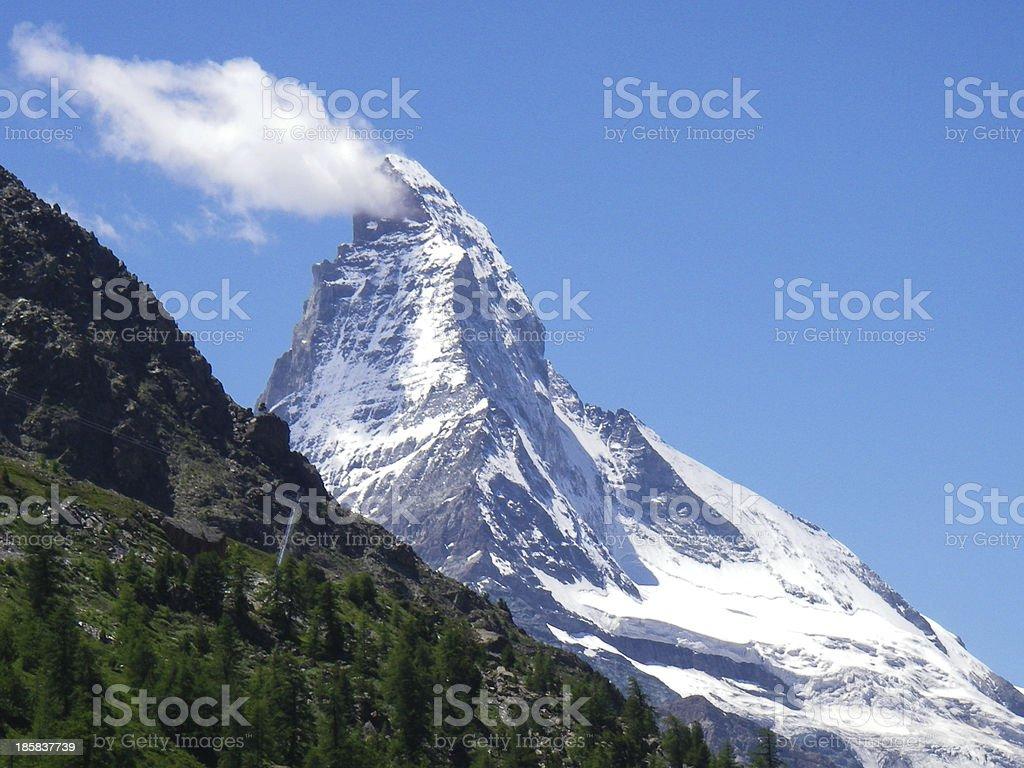 Banner Cloud on the Matterhorn Peak near Zermatt Switzerland stock photo