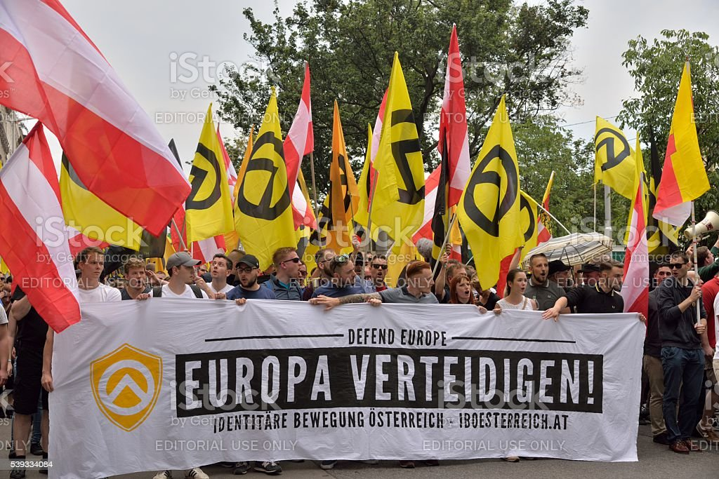 Banner 'Defend Europe' stock photo