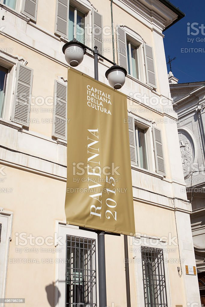 Banner in the city centre of Ravenna, Italy stock photo