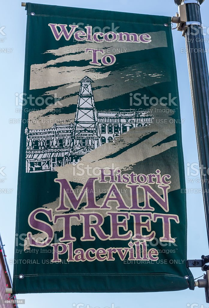 Banner of historic main street in Placerville stock photo