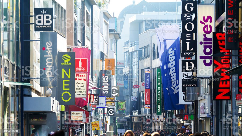 Banner of stores in Hohe Straße stock photo