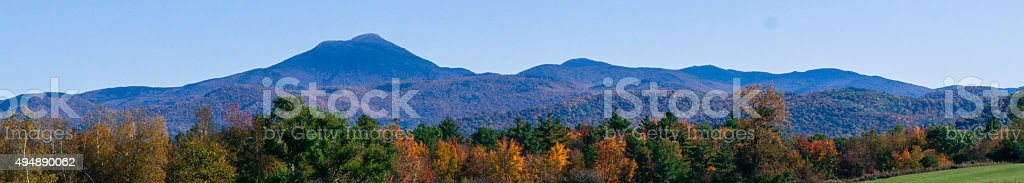 banner picture of the Green Mountains of Vermont in Fall stock photo