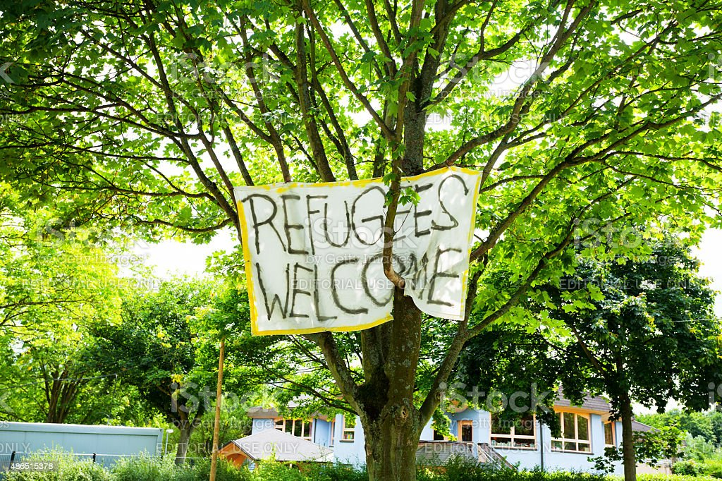 Banner Refuges Welcome stock photo
