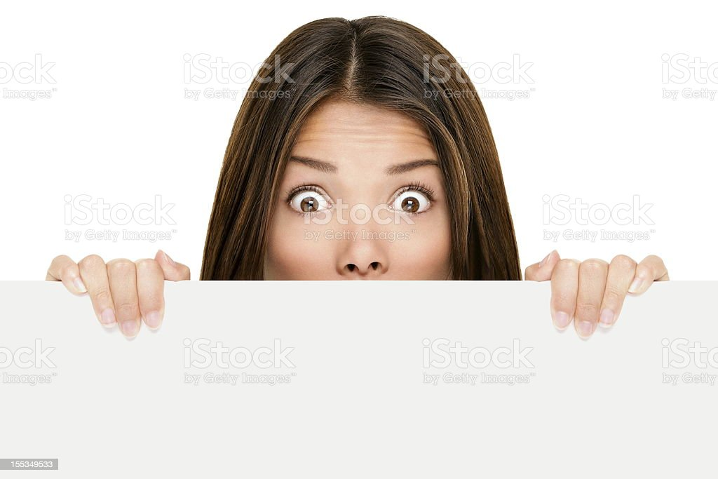 Banner sign woman peeking over edge stock photo