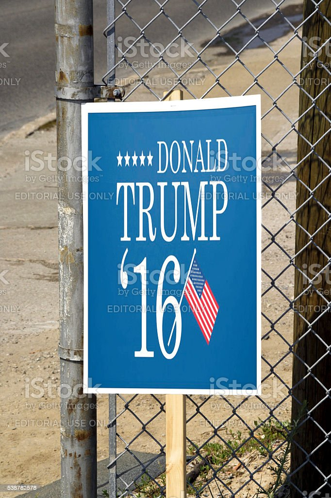 Banner supporting Donald Trump for President in 2016 stock photo