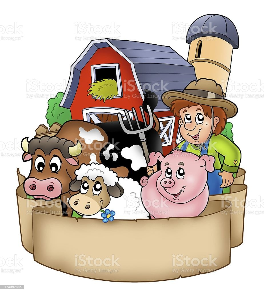 Banner with barn and country animals stock photo
