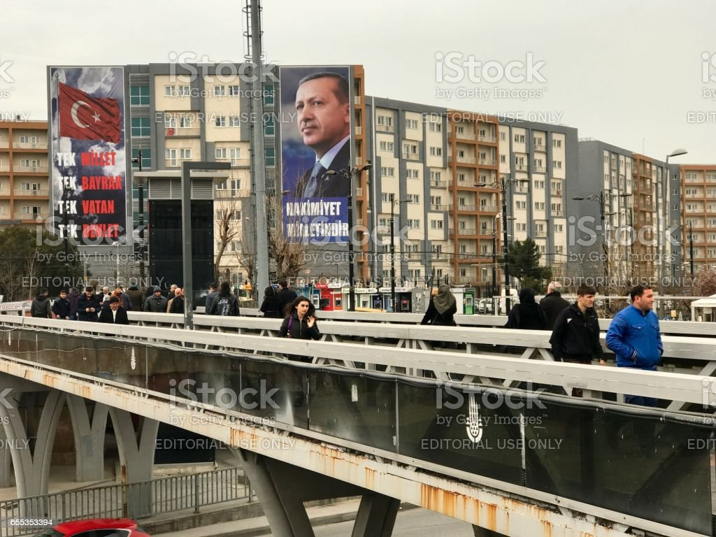 Banners for the referendum in support of the Justice and Development Party (AKP) and President Recep Tayyip Erdogan's proposed amendments to the constitution stock photo