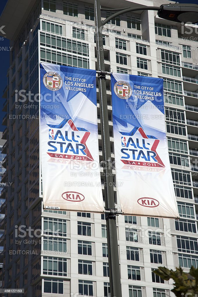 Banners promoting the NBA All Star Game 2011 royalty-free stock photo