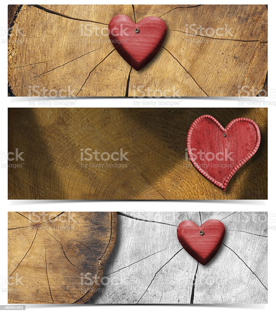 Banners with Wooden Hearts stock photo