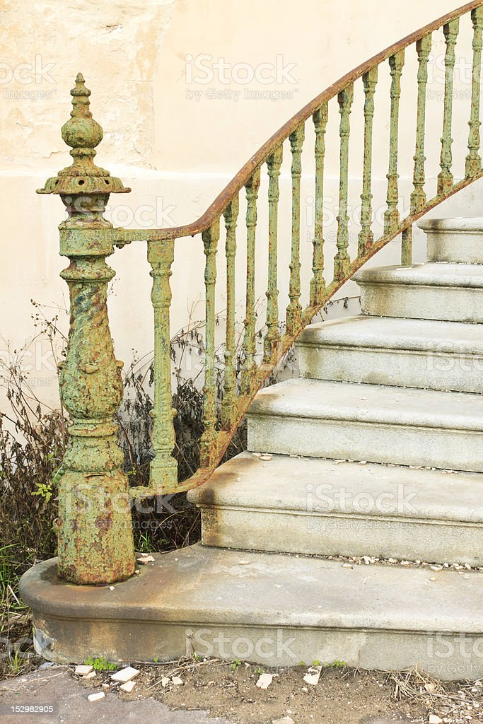 Bannister Of Abandoned Staircase stock photo