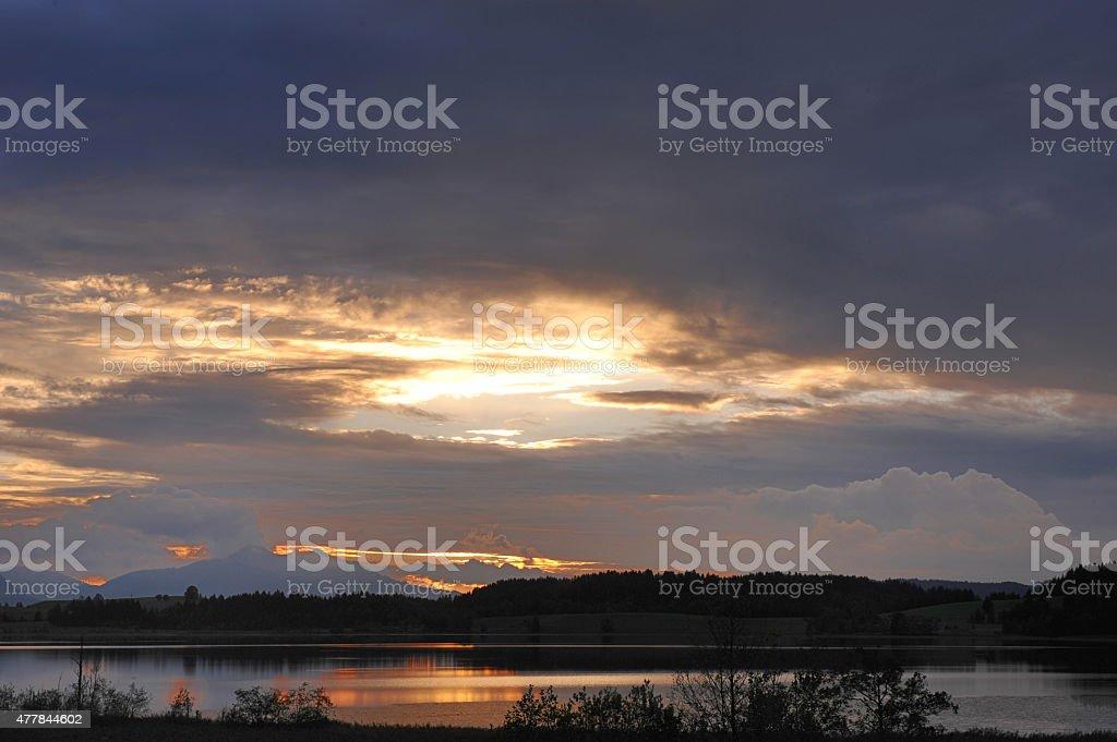 Bannwaldsee Lake in Dusk stock photo