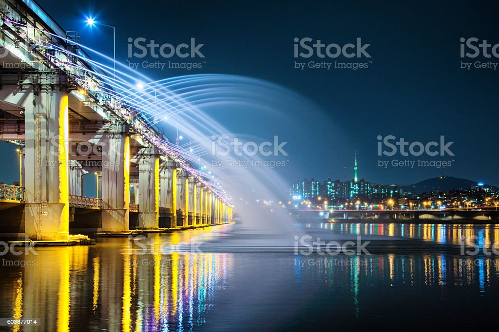 Banpo bridge water and light show with Seoul skyline stock photo