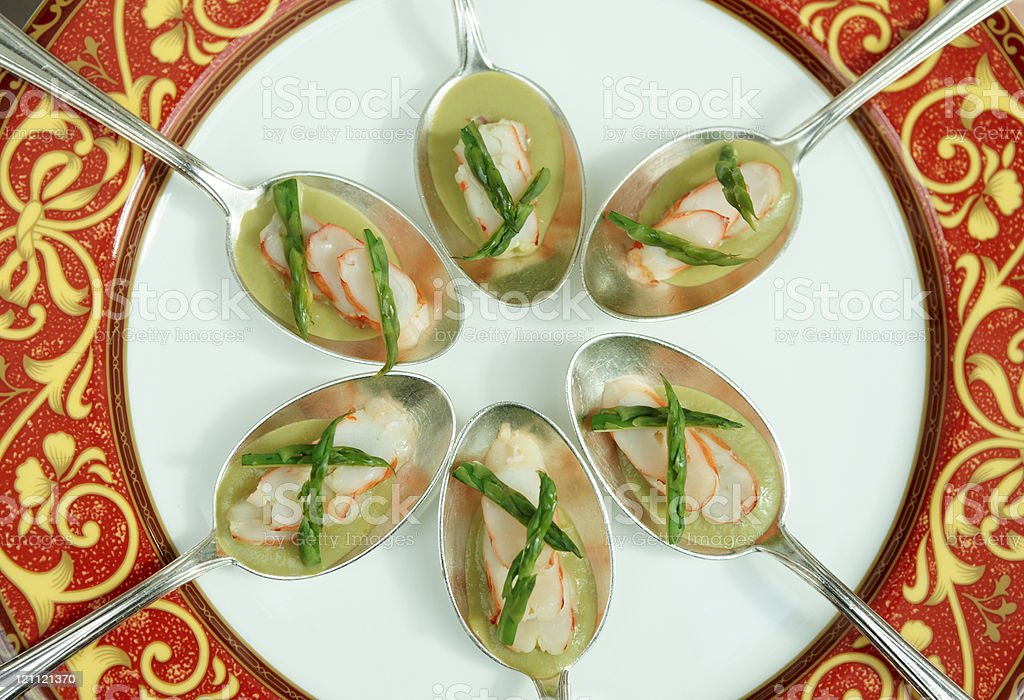 Banquet dish with crab and asparagus royalty-free stock photo