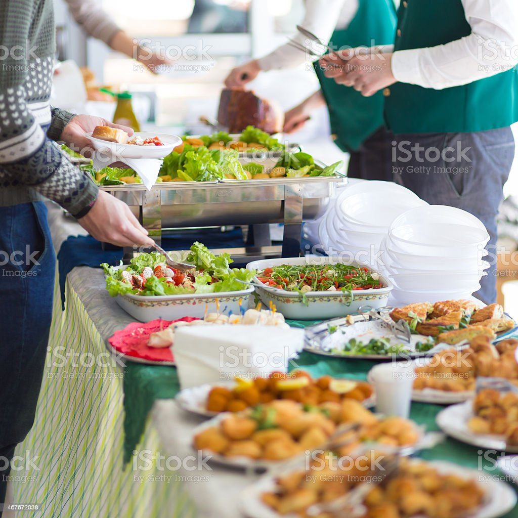 Banquet lunch break at conference meeting. stock photo