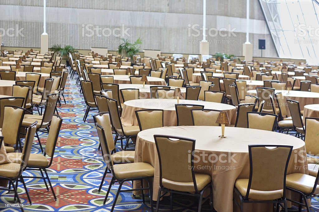Banquet Meeting Hall table and chairs stock photo