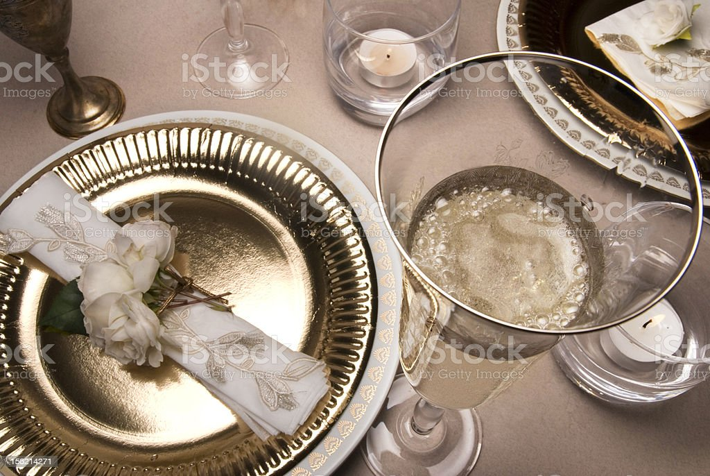 Banquet serve - gold royalty-free stock photo