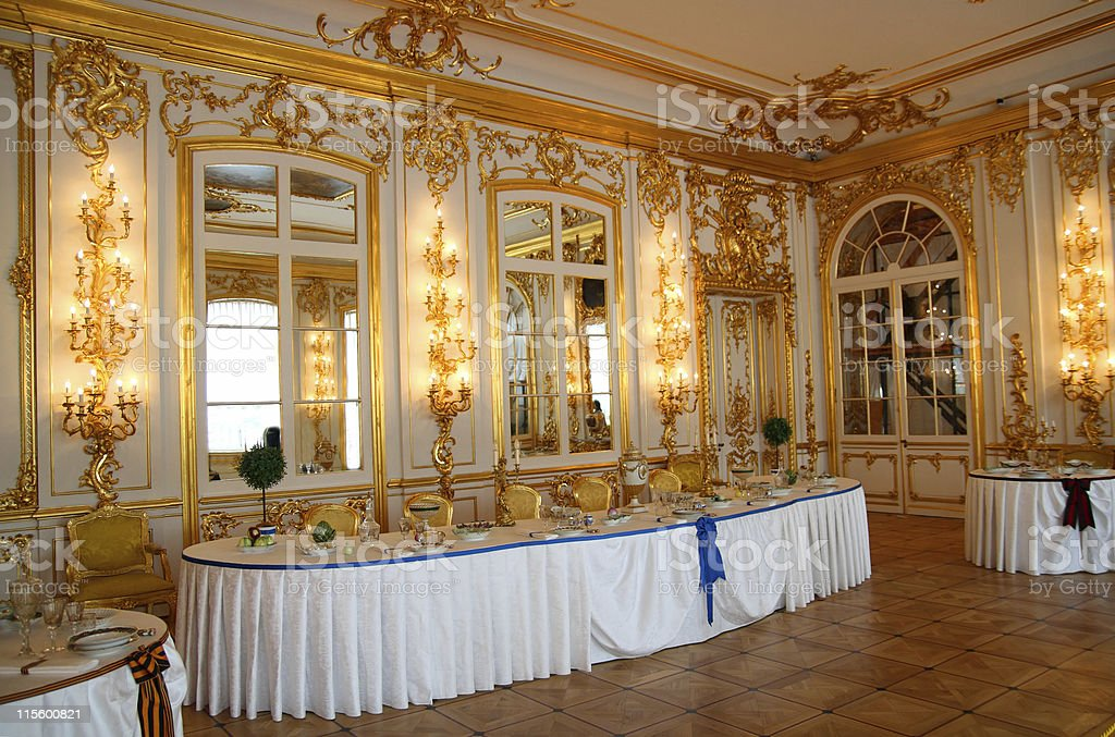 banquet table in dining-hall royalty-free stock photo