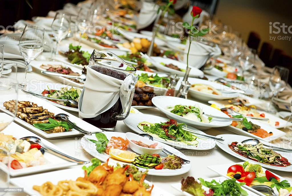 Banquet table stock photo