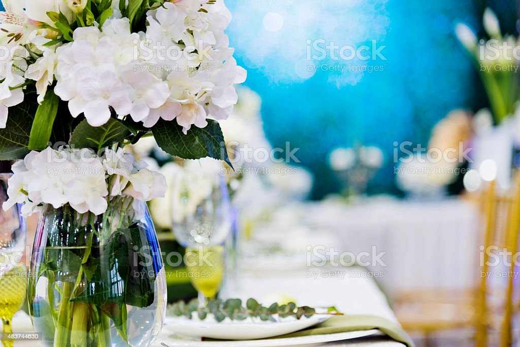 Banquet table setting stock photo