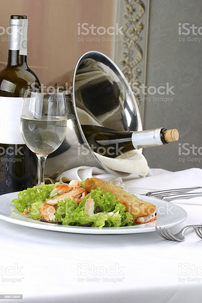Banquet table setting, Seafoods royalty-free stock photo