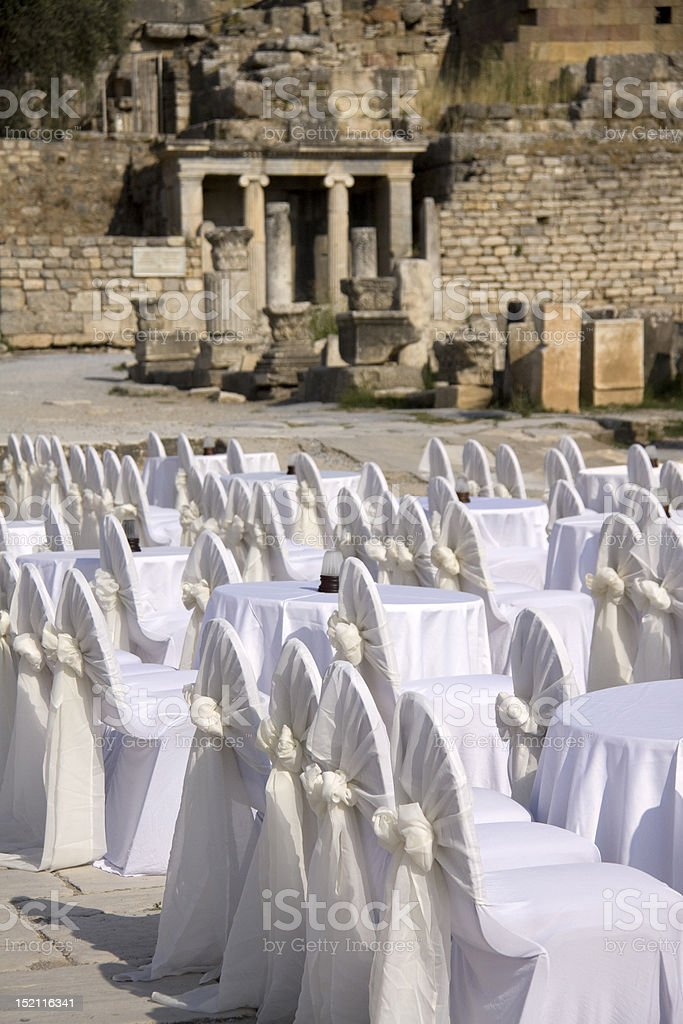 Banquet Tables Among Ancient Ruins royalty-free stock photo