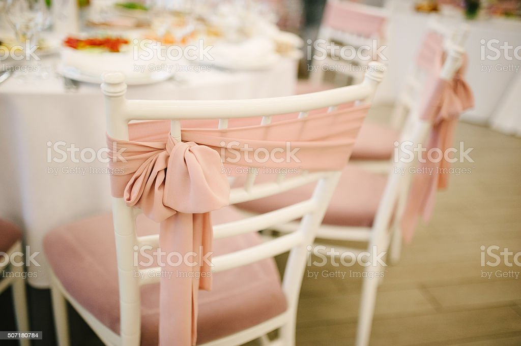 Banquet wedding chairs setting on evening reception stock photo