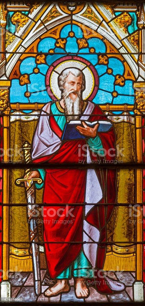 Banska Bela - St. Pautl the Apostle on windowpane stock photo