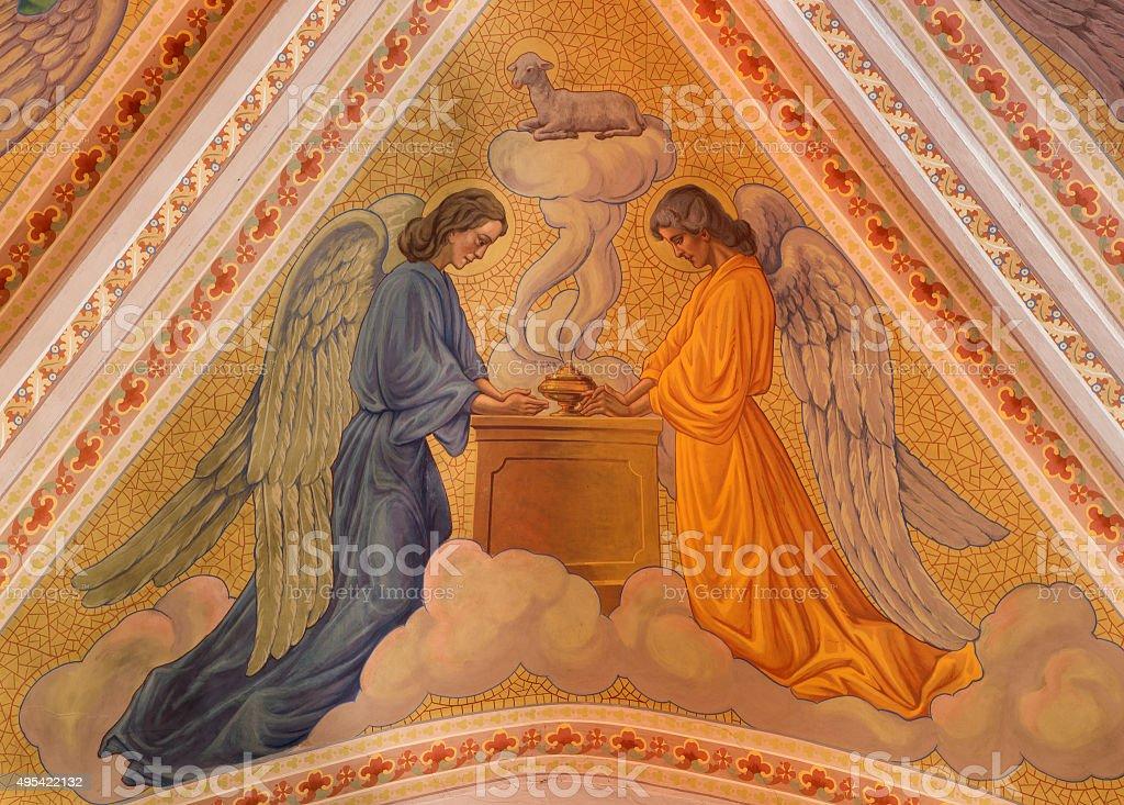 Banska Stiavnica - angels and The Lamb of God fresco stock photo