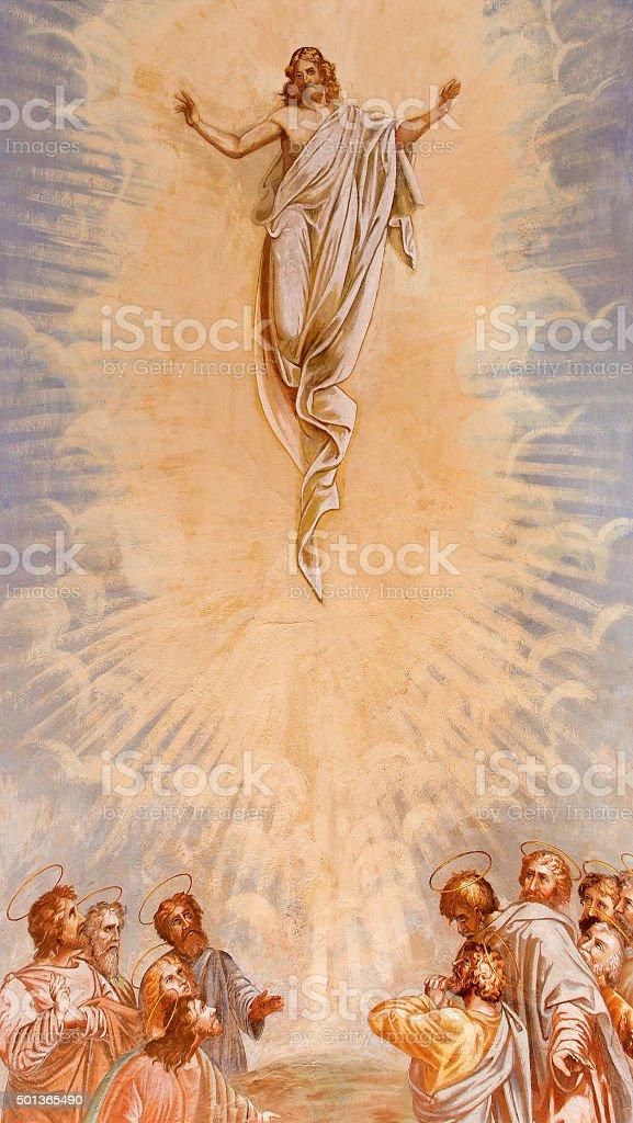Banska Stiavnica - The Ascension of Christ fresco stock photo