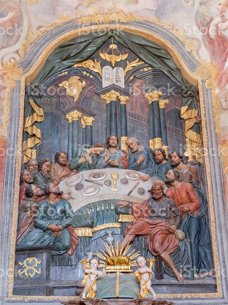 Banska Stiavnica - The carved polychrome relief of Last supper stock photo