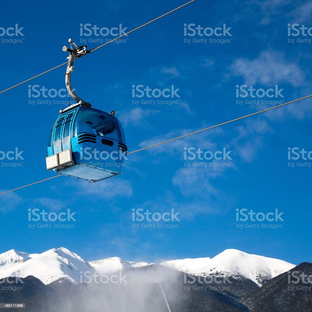 Bansko cable car cabin, Bulgaria stock photo