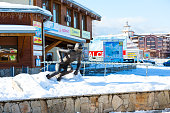 Bansko cable car station and skier statue, Bulgaria