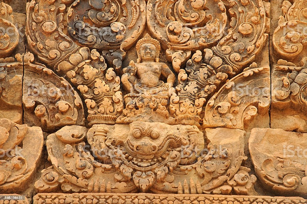 Banteay Srei Carving of Shiva royalty-free stock photo