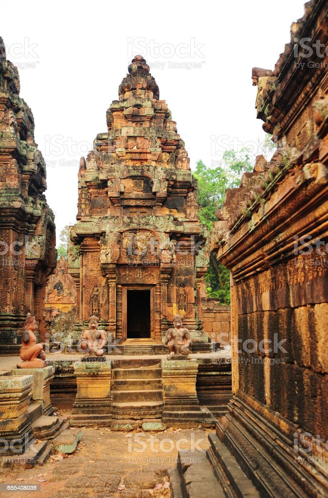 Banteay Srei Temple in Angkor,Siem Reap Province,Cambodia. stock photo