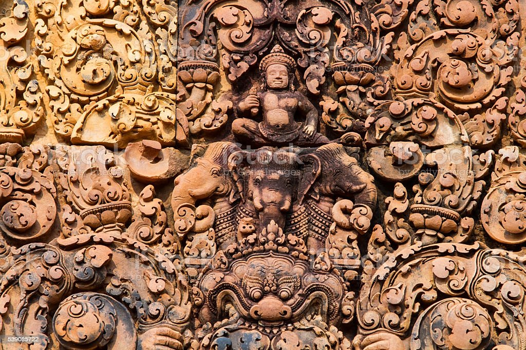 Banteay Srei temple near Angkor Wat in Cambodia. stock photo