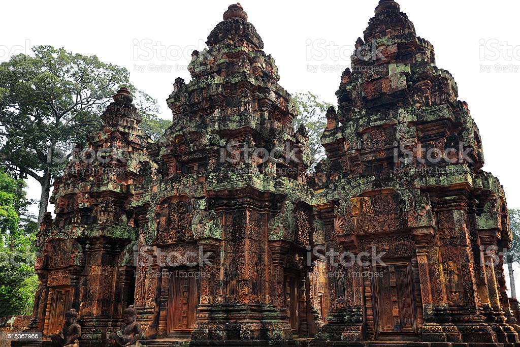 banteay srei temple-cambodia stock photo