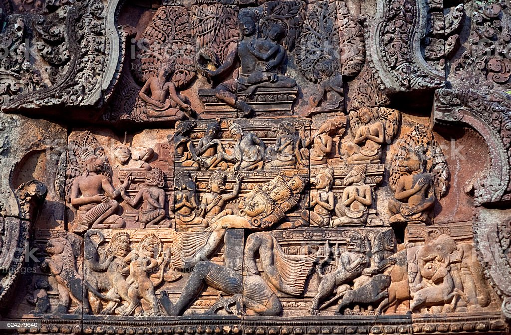 Banteay Srey Temple in Angkor Area, Cambodia stock photo