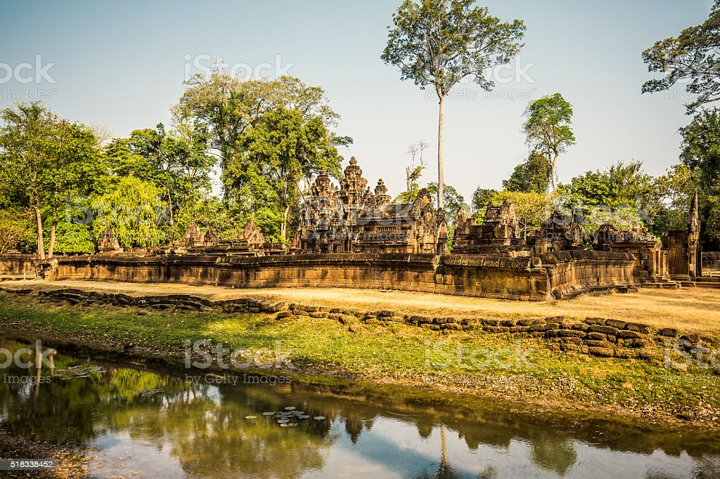 Bantei Srei temple Angkor Cambodia stock photo