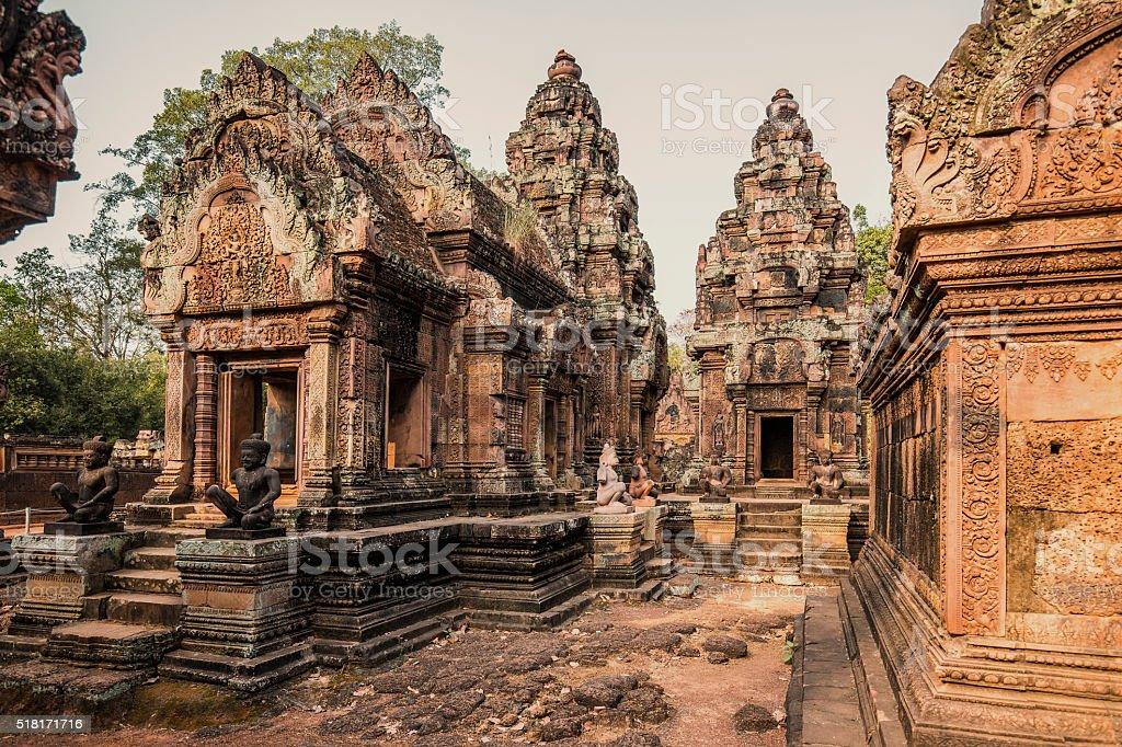 Bantey Srei temple Angkor Cambodia stock photo